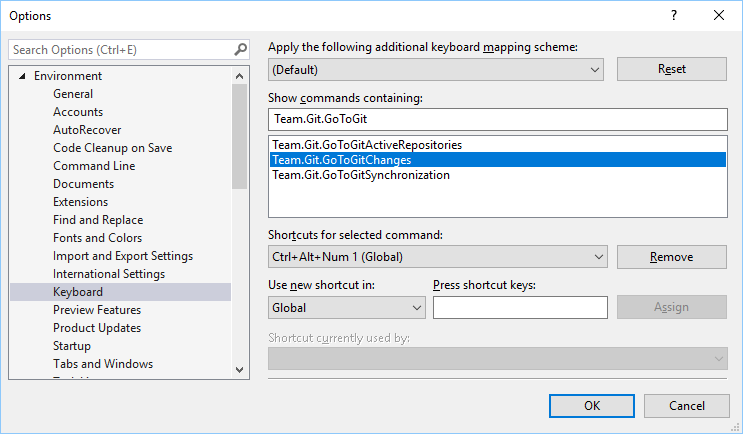 Visual Studio GIT Options